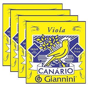 Kit Com 04 Jogos De Cordas Para Viola Com Bolinha Canario Giannini