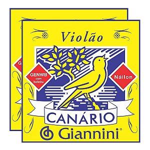 Kit Com 02 Jogos De Cordas Para Violão Nylon Com Bolinha Canário Giannini