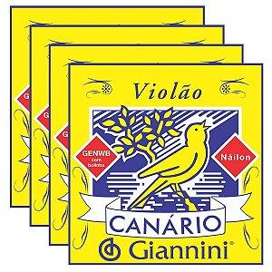 Kit Com 04 Jogos De Cordas Para  Violão Nylon  Com Bolinha Canário Giannini