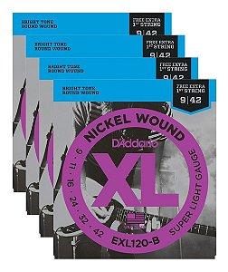 Kit Com 04 Jogos De Cordas Para Guitarra 009 EXL120-B Daddario