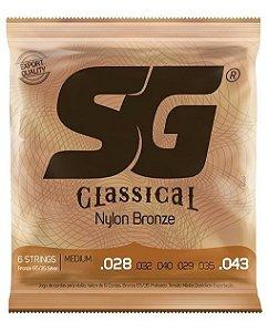 Encordoamento Cordas Para Violão Nylon Tensão Media Classical SG