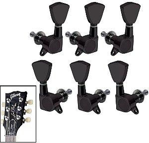 Jogo De Tarrachas Tarraxas Blindada Preta Para Violão Guitarra Les Paul SG 3x3
