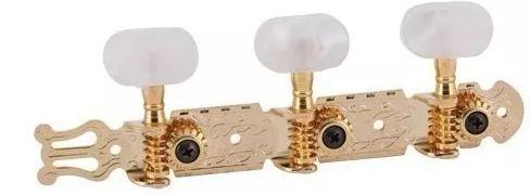 Jogo De Tarrachas Tarraxas Dourada Para Violão Nylon Pino Grosso 3x3 Deval