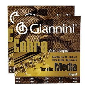 Kit Com 02 Jogos De Cordas Para Viola Caipira Tensão Media Niquel Cobra Giannini