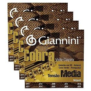 Kit Com 04 Jogos De Cordas Para Viola Caipira Tensão Media Niquel Cobra Giannini
