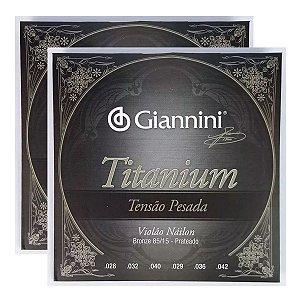 Kit Com 02 Jogos De Cordas Para Violão Nylon Titanium Pesada Giannini