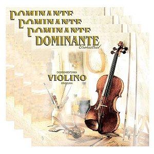 Kit Com 04 Jogos De Cordas Para Violino 4x4 Dominante