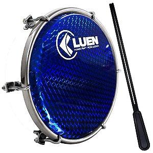 "Tamborim Luen 06"" ABS Branco Pele Holográfica Azul"