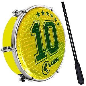 """Tamborim Luen 06"""" ABS Amarelo Pele Holográfica Camisa 10"""