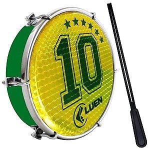 """Tamborim Luen 06"""" ABS Verde Pele Holográfica Camisa 10"""