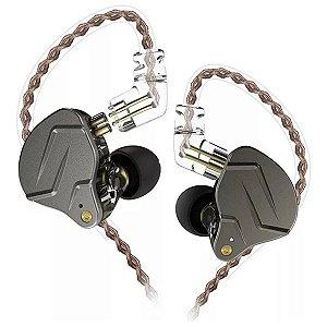 Fone De Ouvido In Ear Dual Driver KZ ZNS Pro Cinza