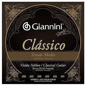 Cordas De Violão Nylon Giannini Clássico Tensão Média