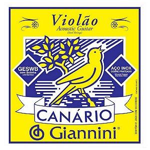 Cordas Violão Giannini Aço Com Bolinha Canario
