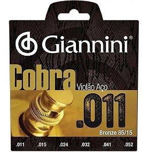 Jogo De Cordas Para Violão Aço Giannini Cobra 011