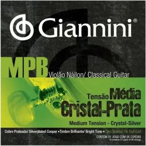 Jogo De Cordas Para Violão nylon Giannini Cristal Prata Mpb