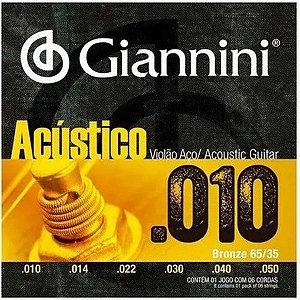 Jogo De Cordas Para Violão Aço Giannini Acústico 010