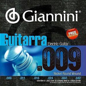 Encordoamento Cordas Giannini Para Guitarra 009 Super Oferta