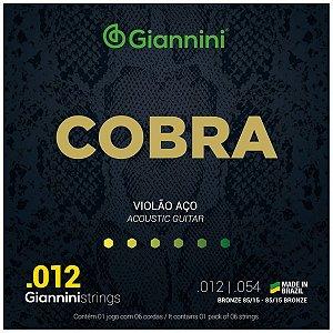 Jogo De Cordas Para Violão Aço Giannini Cobra 012