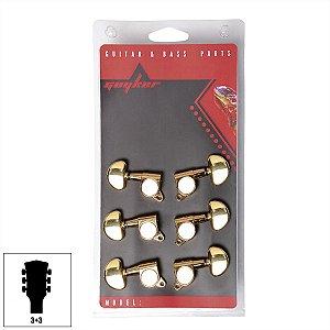 Jogo De Tarraxas Blindada Dourada Para Violão Guitarra