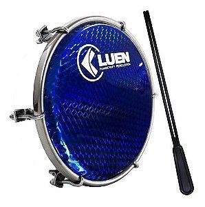 "Tamborim Luen 6"" Aro Abs Branco Pele Holográfica Azul"