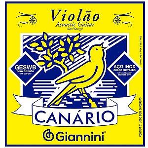 Jogos de Cordas Para Violão Aço Giannini Canario Com Bolinha