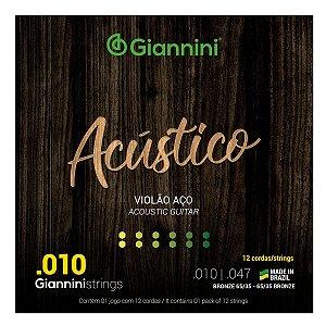 Encordoamento Para Violão Aço 12 Cordas Giannini Acústico 010