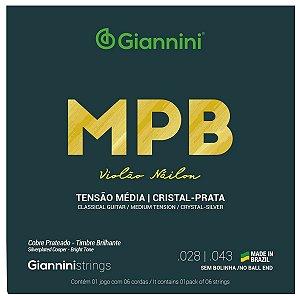 Jogo De Cordas Para Violão Nylon Giannini Cristal Prata