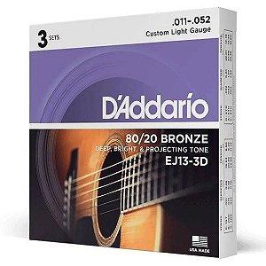 Pack Economico 03 Cordas Daddario Violão Aço 011 EJ13-3D