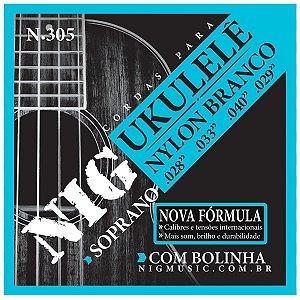 Jogo De Cordas Para Ukulele Soprano Nig Nylon Branco N-305