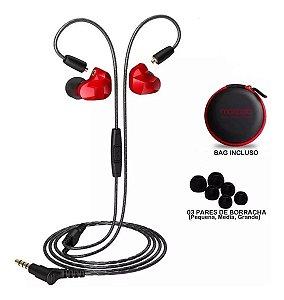 Fone De Ouvido Moxpad Dual Driver In Ear X9 Vermelho