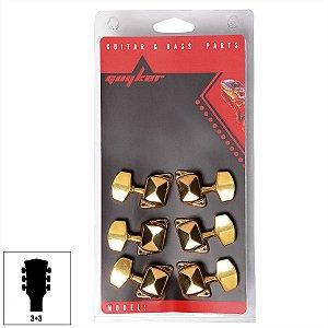 Tarraxa Semi Blindada Dourada Para Guitarra Violão Aço 3x3