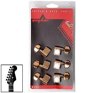 Tarraxas Dourada Blindada Para Guitarra 6 Cordas Em Linha