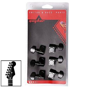 Tarraxas Preta Blindada Para Guitarra 6 Cordas Em Linha