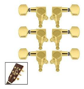 Jogo De Tarraxas Blindada Dourada Para Violão Guitarra 3+3