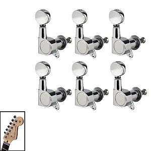Tarraxa Cromada Blindada Para Guitarra 6 Em linha