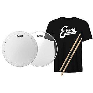 Kit Snare Evans Pele 14 Hd Dry + Hazy 300 + Baqueta + Camiseta