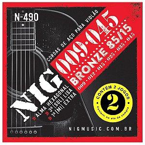 Kit Econômico Com 02 Jogos De Cordas Nig Violão Aço N-490