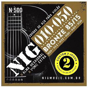 Kit Econômico Com 02 Jogos De Cordas Nig Violão Aço N-500