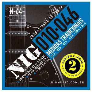 Kit Econômico Com 02 Jogos De Cordas Nig Para Guitarra N-64