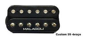 Captador Guitarra Humbucker Custom 59 Braço Malagoli Preto