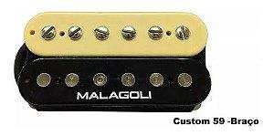 Captador Guitarra Humbucker Custom 59 Braço Malagoli Preto E Creme