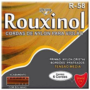 Jogo De Cordas Para Violão Nylon Rouxinol Com Bolinha R58
