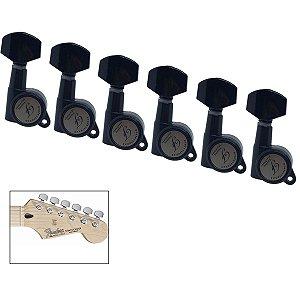 Tarraxas Com Trava 18 Dentes Preta Para Guitarra 6 Em Linha