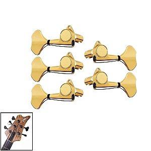 Tarraxas Blindada Dourada Para Contra Baixo 5 Cordas Gotoh 3x2