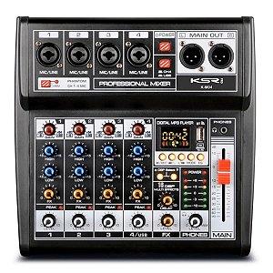 Mesa De Som Mixer Profissional 4 Canais KSR Bluetooth Usb
