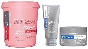 For Beauty Argan Capilar Platinum com Manutenção (3 itens)