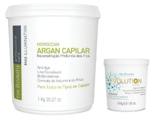 For Beauty Argan Capilar 1kg e Evolution Máscara 250g