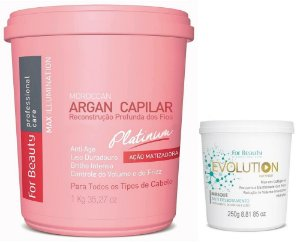 For Beauty Argan Capilar Platinum 1kg e Evolution Máscara 250g