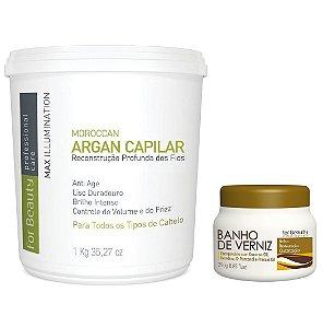 For Beauty Argan Capilar 1kg e Banho de Verniz 250g