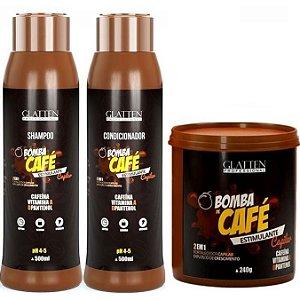 Glatten Bomba de Café Kit com Máscara 240g (3 itens)
